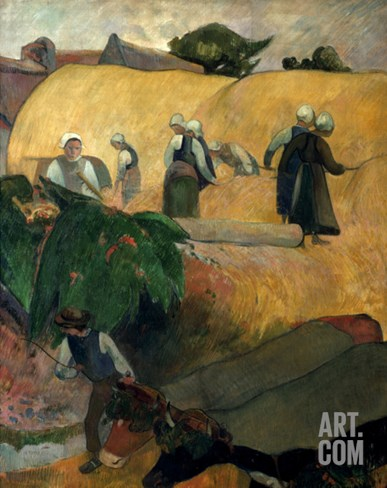 Gauguin: Breton Women Stretched Canvas Print