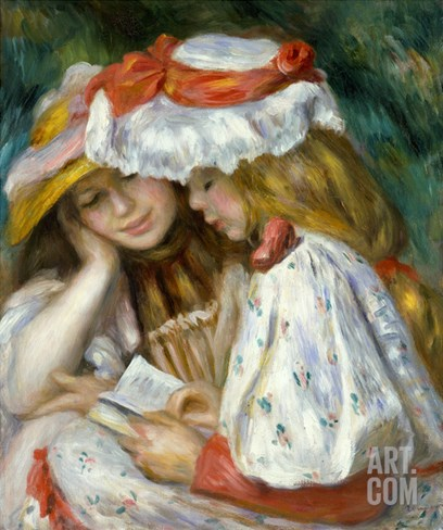 Renoir: Two Girls Reading Stretched Canvas Print