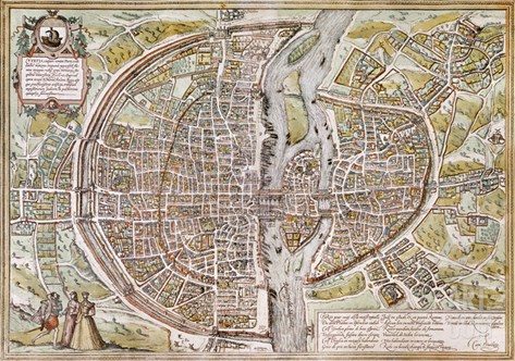 Paris Map, 1581 Stretched Canvas Print