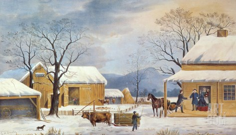 Home To Thanksgiving, 1867 Stretched Canvas Print