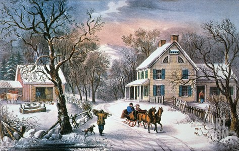 Homestead Winter, 1868 Stretched Canvas Print