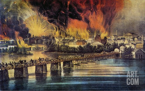 Fall Of Richmond, 1865 Stretched Canvas Print