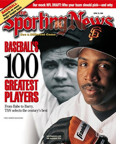 San Francisco Giants OF Barry Bonds and New York Yankees OF Babe Ruth - April 19, 1999 Stretched Canvas Print