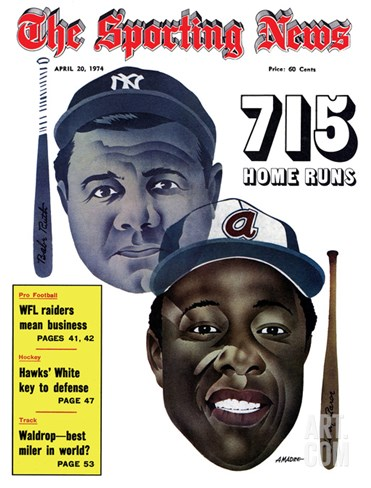 New York Yankees' Babe Ruth and Atlanta Braves' Hank Aaron - April 20, 1974 Stretched Canvas Print