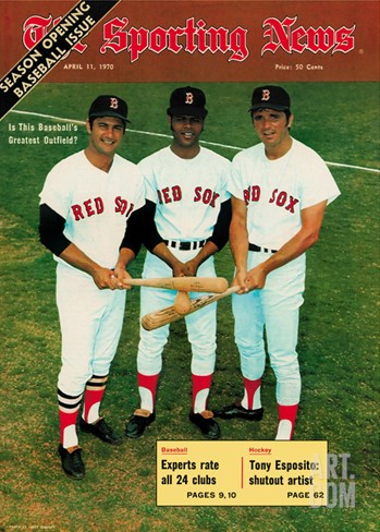 Red Sox OFs Tony Conigliaro, Carl Yastrzemski and Reggie Smith - April 11, 1970 Stretched Canvas Print