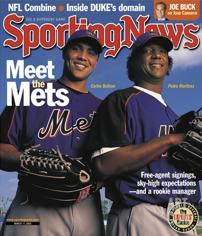 New York Mets Carlos Beltran and Pedro Martinez - March 11, 2005 Stretched Canvas Print