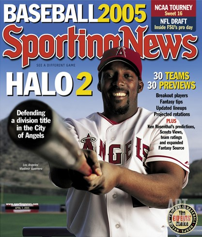 Los Angeles Angels OF Vladimir Guerrero - April 1, 2005 Stretched Canvas Print