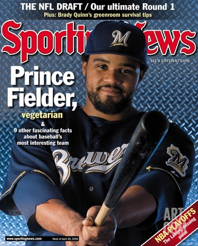 Milwaukee Brewers 1B Prince Fielder - April 28, 2008 Stretched Canvas Print