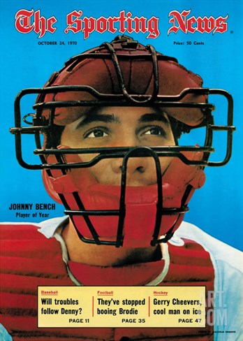 Cincinnati Reds Catcher Johnny Bench - October 24, 1970 Stretched Canvas Print