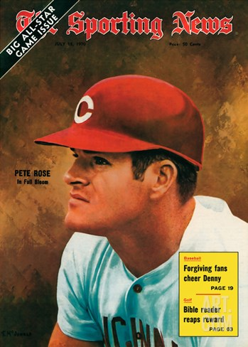 Cincinnati Reds Slugger Pete Rose - July 18, 1970 Stretched Canvas Print
