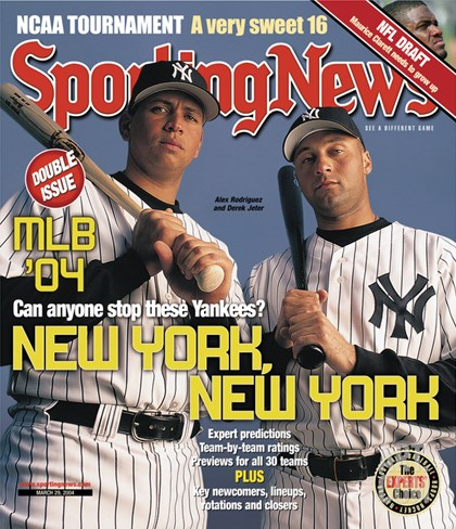 New York Yankees Alex Rodriguez and Derek Jeter - March 29, 2004 Stretched Canvas Print