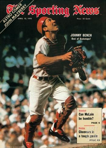 Cincinnati Reds Catcher Johnny Bench - April 18, 1970 Stretched Canvas Print
