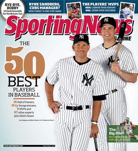 New York Yankees Alex Rodriguez and Mark Teixeira - May 10, 2010 Stretched Canvas Print