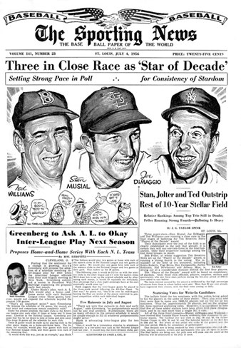Ted Williams, Stan Musial and Joe DiMaggio - July 4, 1956 Stretched Canvas Print