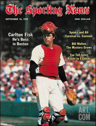 Red Sox C Carlton Fisk - September 16, 1978 Stretched Canvas Print