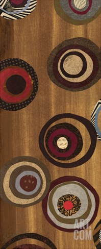 Flight of Fancy II - mini - Abstract Circles on Brown Stretched Canvas Print