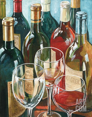 Wine Reflections I - Bottles and Glasses Stretched Canvas Print