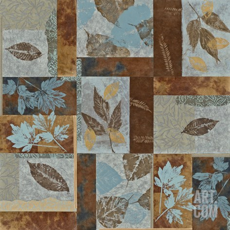 Blue Fusion II - Geometric Leaves in Blue and Brown Stretched Canvas Print