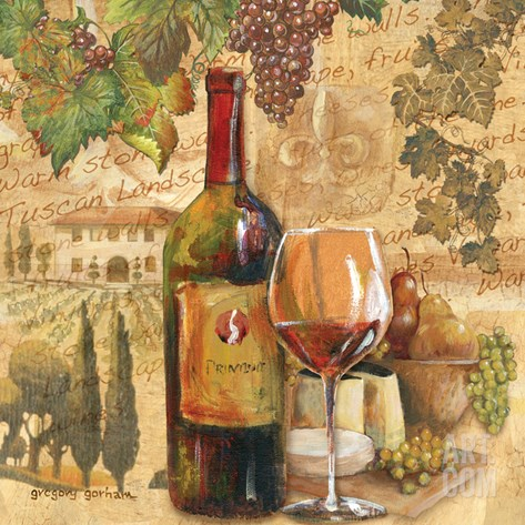 Tuscan Harvest - Wine Stretched Canvas Print