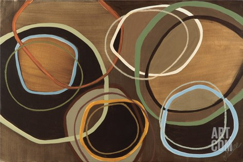 14 Friday I - Brown Circle Abstract Stretched Canvas Print
