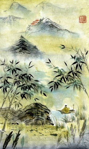 Having Visited Qui Baishi Stretched Canvas Print
