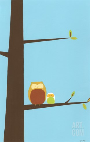 Treetop Owls I Stretched Canvas Print