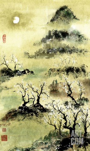 Viewing Plum Blossoms in Moonlight Stretched Canvas Print