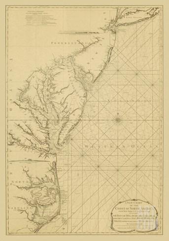 Coastal Chart of the East Coast Stretched Canvas Print