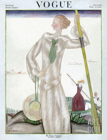 Vogue Cover - June 1922 Stretched Canvas Print