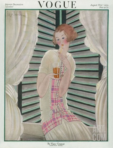 Vogue Cover - August 1922 Stretched Canvas Print