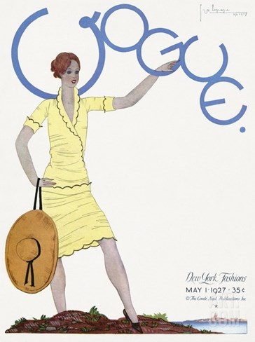 Vogue Cover - May 1927 Stretched Canvas Print