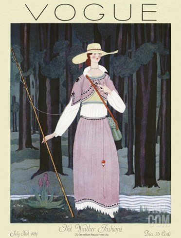 Vogue Cover - July 1924 Stretched Canvas Print