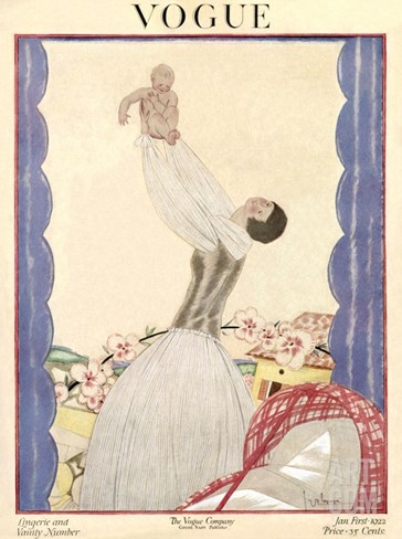 Vogue Cover - January 1922 Stretched Canvas Print