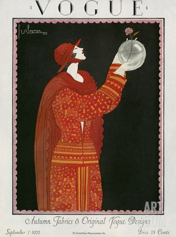 Vogue Cover - September 1923 Stretched Canvas Print