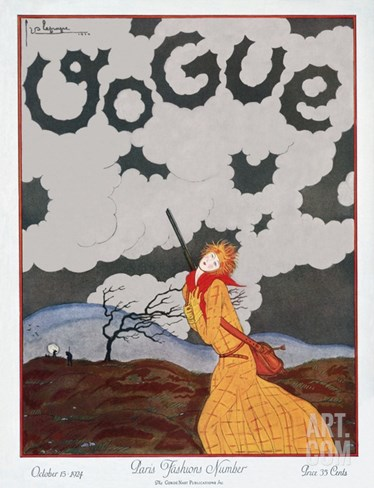 Vogue Cover - October 1924 Stretched Canvas Print