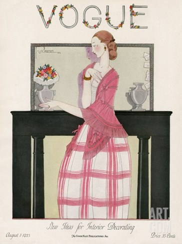 Vogue Cover - August 1923 Stretched Canvas Print