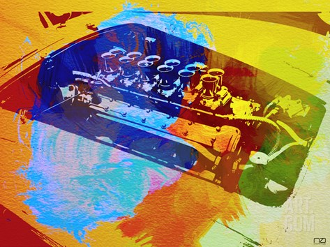 Ferrari Engine Watercolor Stretched Canvas Print