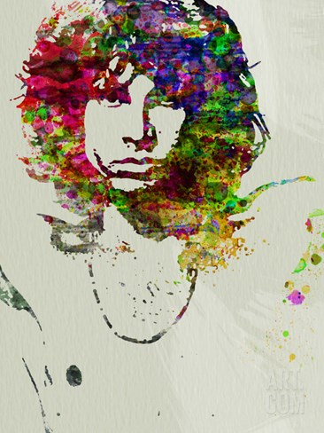 Jim Morrison Watercolor Stretched Canvas Print