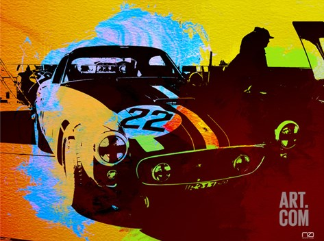 Ferrari Watercolor Stretched Canvas Print