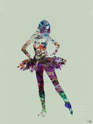Ballerina Watercolor Stretched Canvas Print