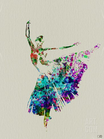 Ballerina Watercolor 5 Stretched Canvas Print