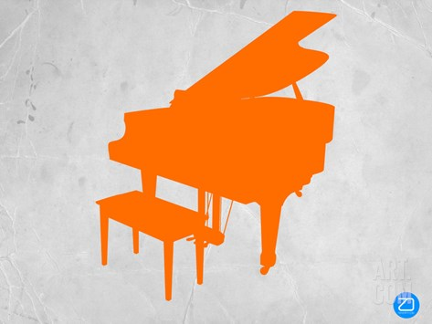 Orange Piano Stretched Canvas Print