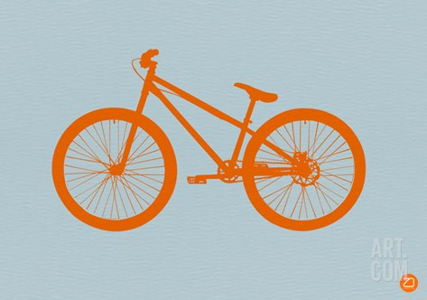 Orange Bicycle Stretched Canvas Print