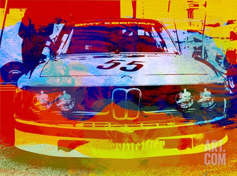 Bmw Racing Watercolor Stretched Canvas Print