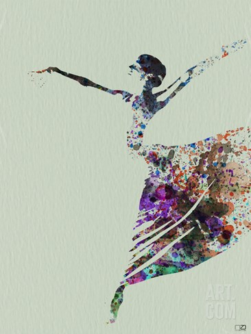 Ballerina Watercolor 3 Stretched Canvas Print