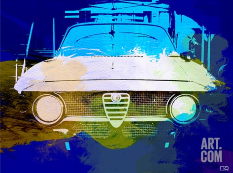 Alfa Romeo Watercolor Stretched Canvas Print