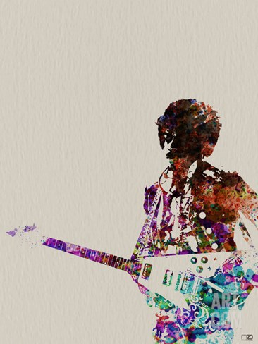 Hendrix With Guitar Watercolor Stretched Canvas Print