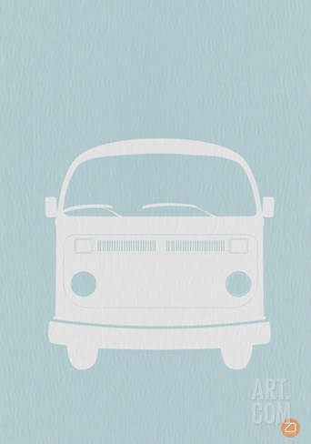VW Bus Blue Poster Stretched Canvas Print