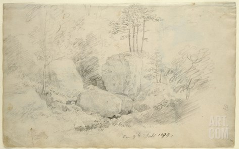 Boulders in Woodland, 1800 (Pencil on Paper) Stretched Canvas Print