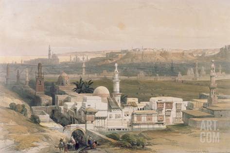 """Cairo from the Gate of Citizenib, Looking Towards the Desert of Suez, from """"Egypt and Nubia"""", Vol.3 Stretched Canvas Print"""